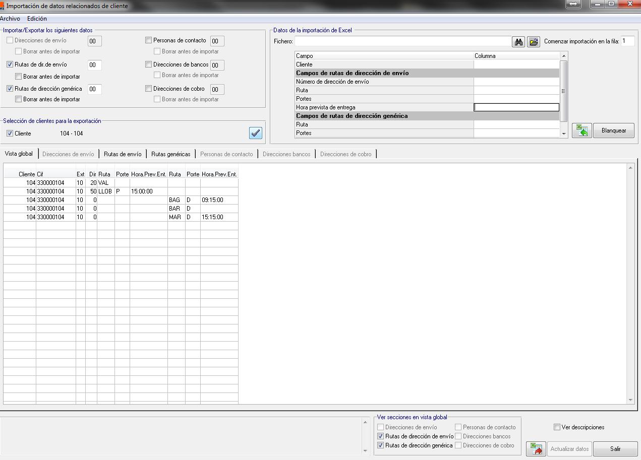 Importar / Exportar Datos de cliente relacionados