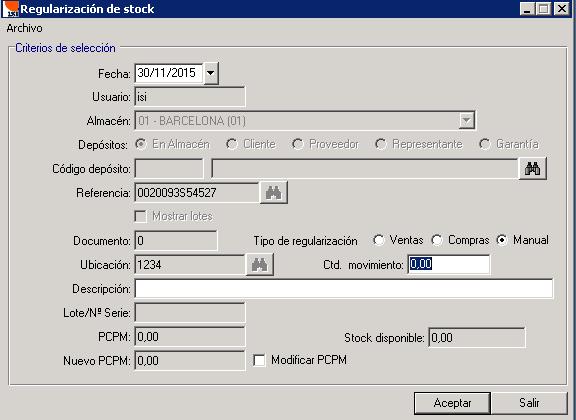 Mostrador - Regularización de stock